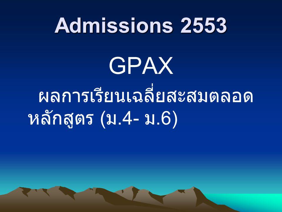 Admissions 2553 GPAX ผลการเรียนเฉลี่ยสะสมตลอด หลักสูตร ( ม.4- ม.6)