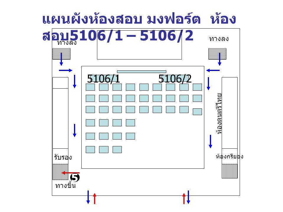 แผนผังห้องสอบ มงฟอร์ต ห้อง สอบ 5106/1 – 5106/2 ห้องกรียอง รับรอง ห้องดนตรีไทย ทางลง ทางขึ้น 5 ทางลง 5106/15106/2