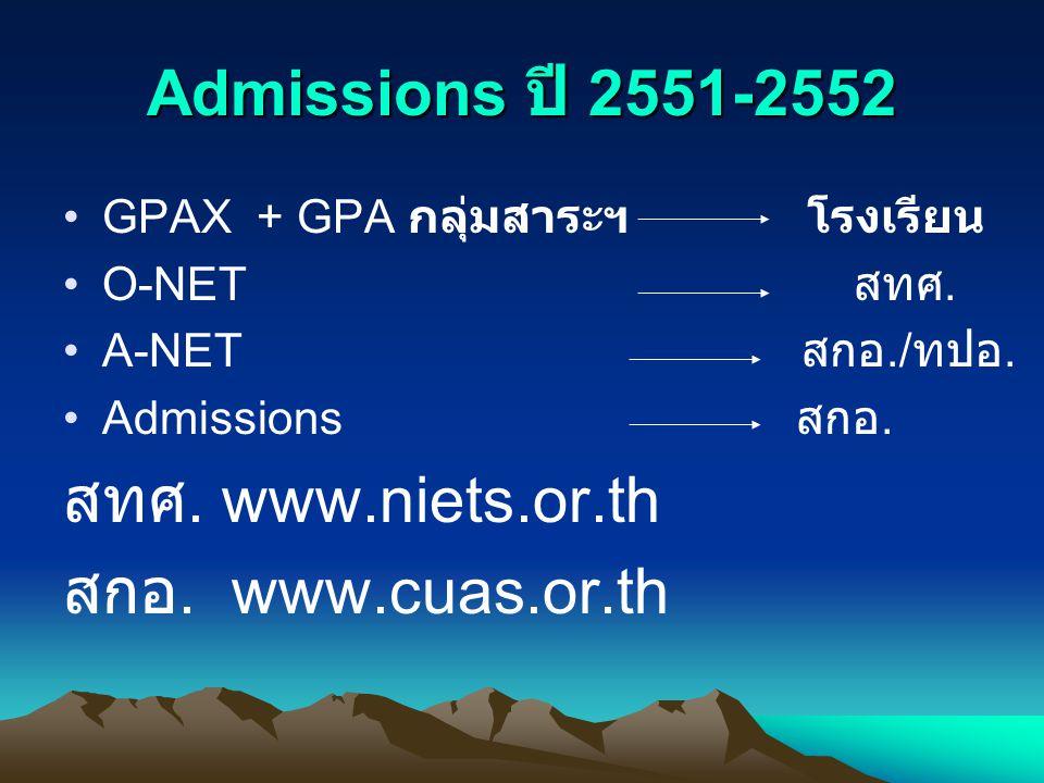 Admissions ปี 2551-2552 GPAX + GPA กลุ่มสาระฯ โรงเรียน O-NET สทศ. A-NET สกอ./ ทปอ. Admissions สกอ. สทศ. www.niets.or.th สกอ. www.cuas.or.th