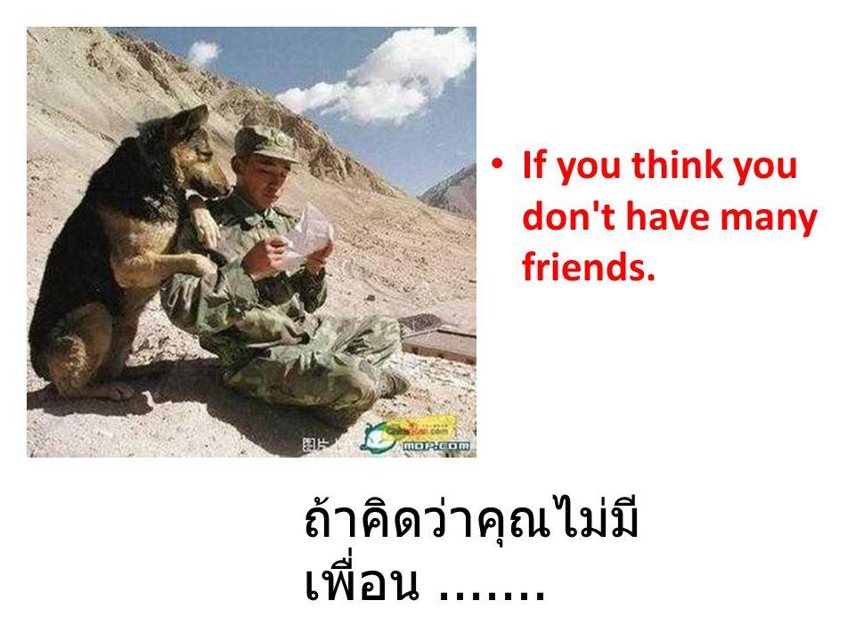 If you think you don't have many friends. ถ้าคิดว่าคุณไม่มี เพื่อน.......