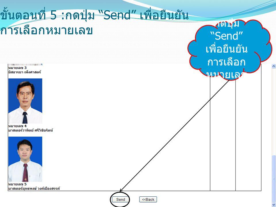 ขั้นตอนที่ 5 : กดปุ่ม Send เพื่อยืนยัน การเลือกหมายเลข กดปุ่ม Send เพื่อยืนยัน การเลือก หมายเลข