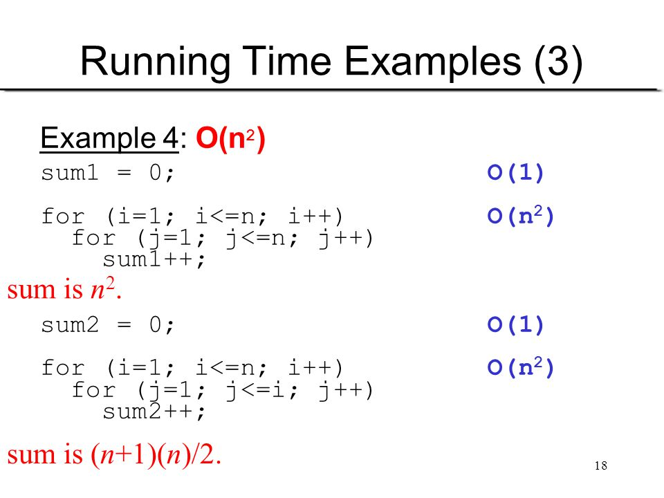 18 Running Time Examples (3) Example 4: O(n 2 ) sum1 = 0; O(1) for (i=1; i<=n; i++) O(n 2 ) for (j=1; j<=n; j++) sum1++; sum2 = 0; O(1) for (i=1; i<=n