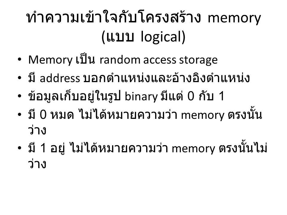 ทำความเข้าใจกับโครงสร้าง memory ( แบบ logical) Memory เป็น random access storage มี address บอกตำแหน่งและอ้างอิงตำแหน่ง ข้อมูลเก็บอยู่ในรูป binary มีแต่ 0 กับ 1 มี 0 หมด ไม่ได้หมายความว่า memory ตรงนั้น ว่าง มี 1 อยู่ ไม่ได้หมายความว่า memory ตรงนั้นไม่ ว่าง