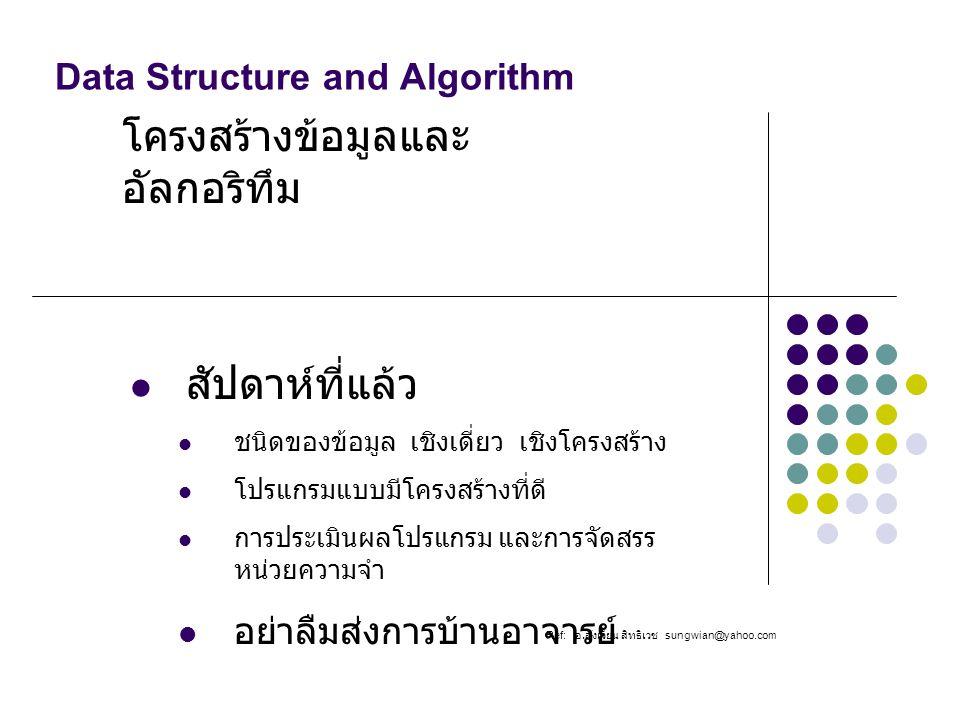 Data Structure and Algorithm โครงสร้างข้อมูลและ อัลกอริทึม Ref: อ. สังเวียน สิทธิเวช sungwian@yahoo.com สัปดาห์ที่แล้ว ชนิดของข้อมูล เชิงเดี่ยว เชิงโค