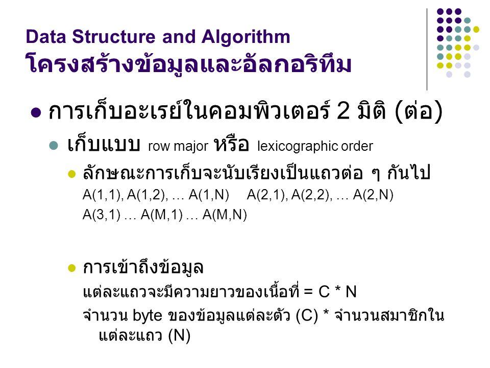 Data Structure and Algorithm โครงสร้างข้อมูลและอัลกอริทึม การเก็บอะเรย์ในคอมพิวเตอร์ 2 มิติ ( ต่อ ) เก็บแบบ row major หรือ lexicographic order ลักษณะก