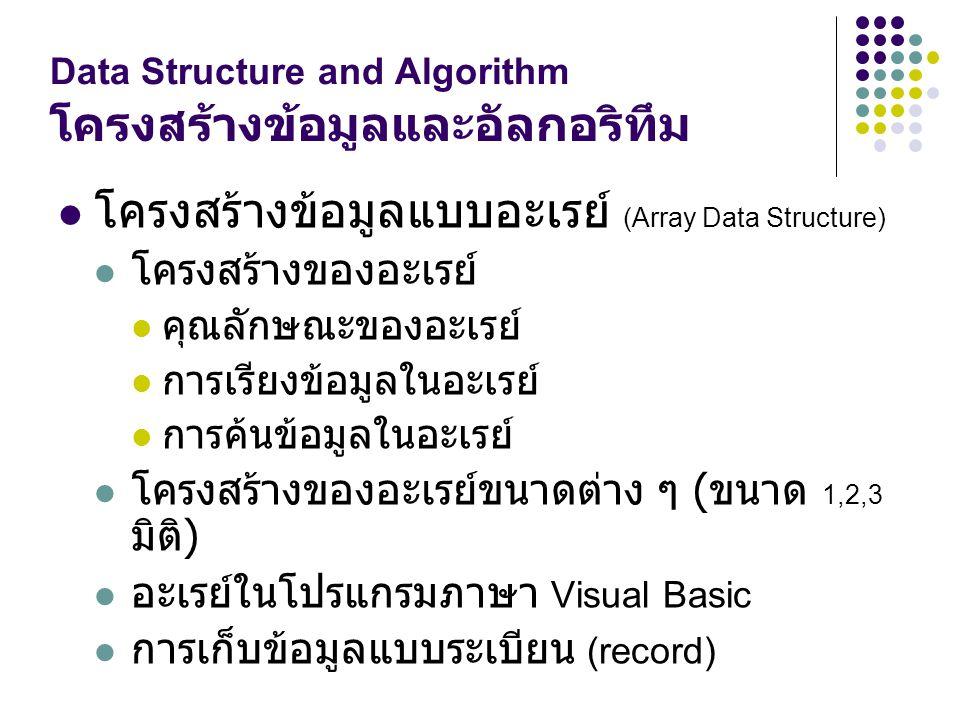 Data Structure and Algorithm โครงสร้างข้อมูลและอัลกอริทึม โครงสร้างข้อมูลแบบอะเรย์ (Array Data Structure) โครงสร้างของอะเรย์ คุณลักษณะของอะเรย์ การเรี