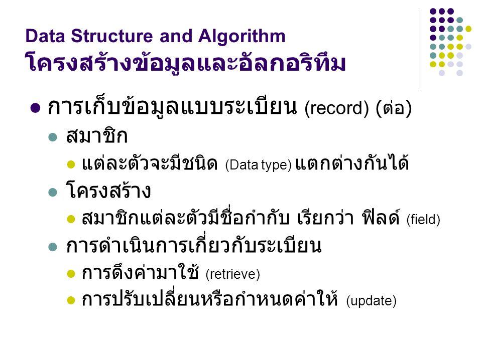 Data Structure and Algorithm โครงสร้างข้อมูลและอัลกอริทึม การเก็บข้อมูลแบบระเบียน (record) ( ต่อ ) สมาชิก แต่ละตัวจะมีชนิด (Data type) แตกต่างกันได้ โ