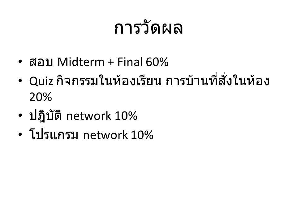 การวัดผล สอบ Midterm + Final 60% Quiz กิจกรรมในห้องเรียน การบ้านที่สั่งในห้อง 20% ปฎิบัติ network 10% โปรแกรม network 10%