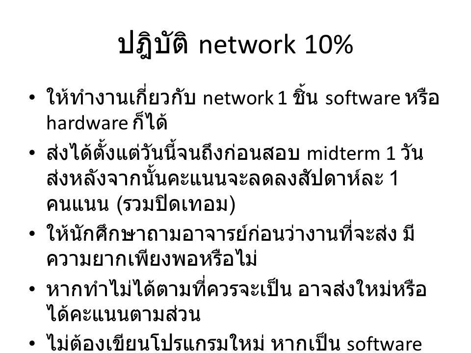 โปรแกรม network 10% ให้นักศึกษาเขียนโปรแกรมทางด้าน network 1 โปรแกรม ( ฟังคำสั่งจากอาจารย์ในห้อง ) ให้นักศึกษาจัดกลุ่มทำกับเพื่อนเป็นโปรแกรมใน เครือข่ายเดียวกัน หากทำคนเดียวเวลาส่งต้องมี 2 เครื่องมาแสดงให้เห็นเป็นเครือข่าย ส่งงานอย่างช้า 1 วันก่อนสอบ Final หลังจากนั้นได้ I นักศึกษาต้องเตรียมอุปกรณ์มาเองให้พร้อมในการ ส่งงาน เวลาส่งนักศึกษาต้องเขียนโปรแกรมใหม่ทั้งหมด อนุญาตให้ดูได้เฉพาะรูปแบบของคำสั่งเท่านั้น ไม่ให้ดูโปรแกรมที่เขียนสำเร็จแล้ว โปรแกรมต้องไม่ไปเรียกใช้คำสั่งที่ทำให้นักศึกษา ไม่ต้องเขียนอะไร โปรแกรมต้องติดต่อกับเครื่องคนอื่นในเครือข่ายได้ จึงได้คะแนน