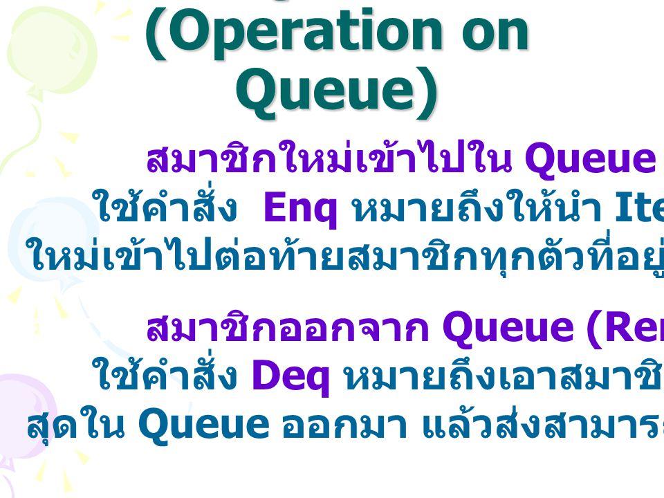 การดำเนินการของ Queue (Operation on Queue) การนำสมาชิกใหม่เข้าไปใน Queue (Add หรือ Insert) ใช้คำสั่ง Enq หมายถึงให้นำ Item ซึ่งเป็นสมาชิก ใหม่เข้าไปต่