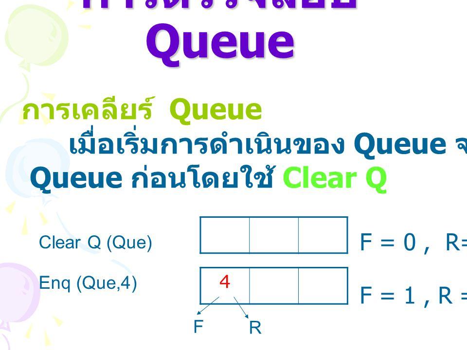 การตรวจสอบ Queue การเคลียร์ Queue เมื่อเริ่มการดำเนินของ Queue จะต้องทำการเคลียร์ Queue ก่อนโดยใช้ Clear Q ตัวอย่าง Clear Q (Que) F = 0, R=0 Enq (Que,
