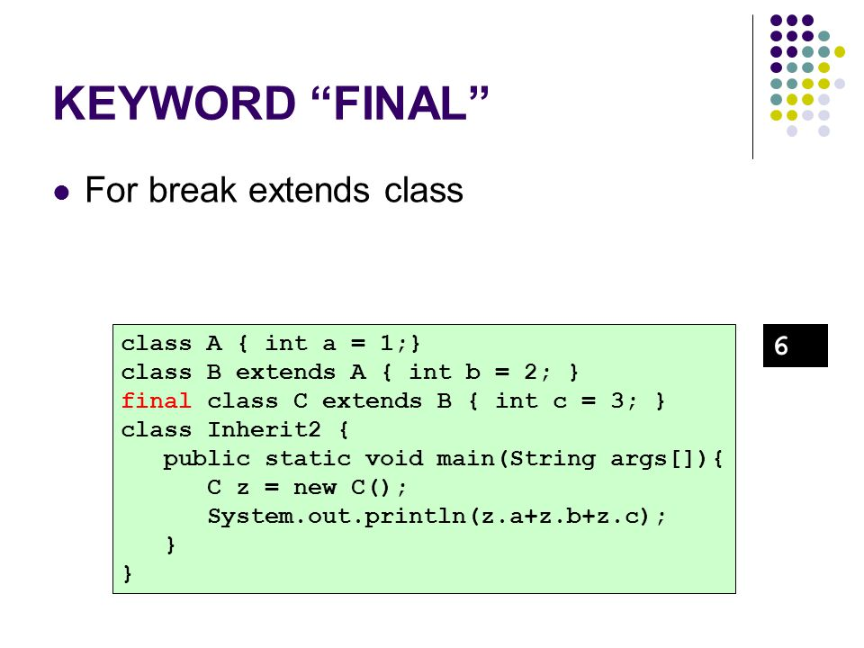 "KEYWORD ""FINAL"" For break extends class class A { int a = 1;} class B extends A { int b = 2; } final class C extends B { int c = 3; } class Inherit2 {"
