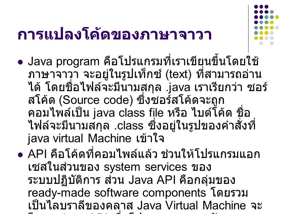 การแปลงโค้ดของภาษาจาวา Java program คือโปรแกรมที่เราเขียนขึ้นโดยใช้ ภาษาจาวา จะอยู่ในรูปเท็กซ์ (text) ที่สามารถอ่าน ได้ โดยชื่อไฟล์จะมีนามสกุล.java เร