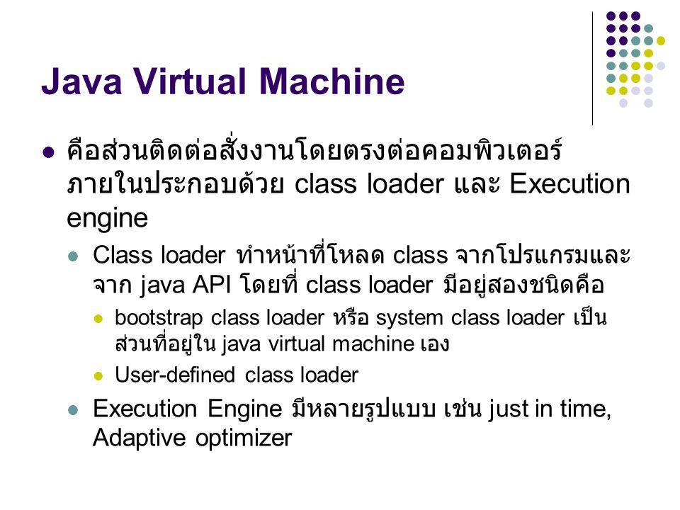 Java Virtual Machine คือส่วนติดต่อสั่งงานโดยตรงต่อคอมพิวเตอร์ ภายในประกอบด้วย class loader และ Execution engine Class loader ทำหน้าที่โหลด class จากโป