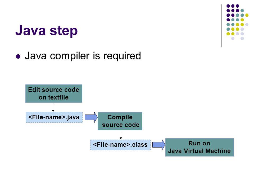 Java step Java compiler is required Edit source code on textfile.java Compile source code.class Run on Java Virtual Machine