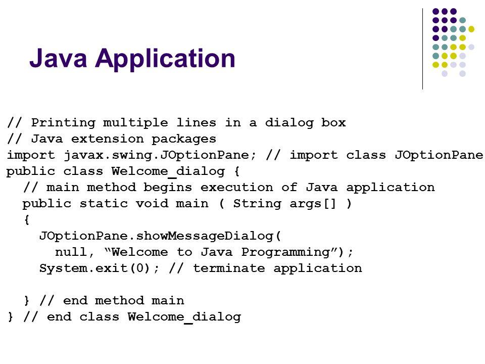 Java Application // Printing multiple lines in a dialog box // Java extension packages import javax.swing.JOptionPane; // import class JOptionPane pub