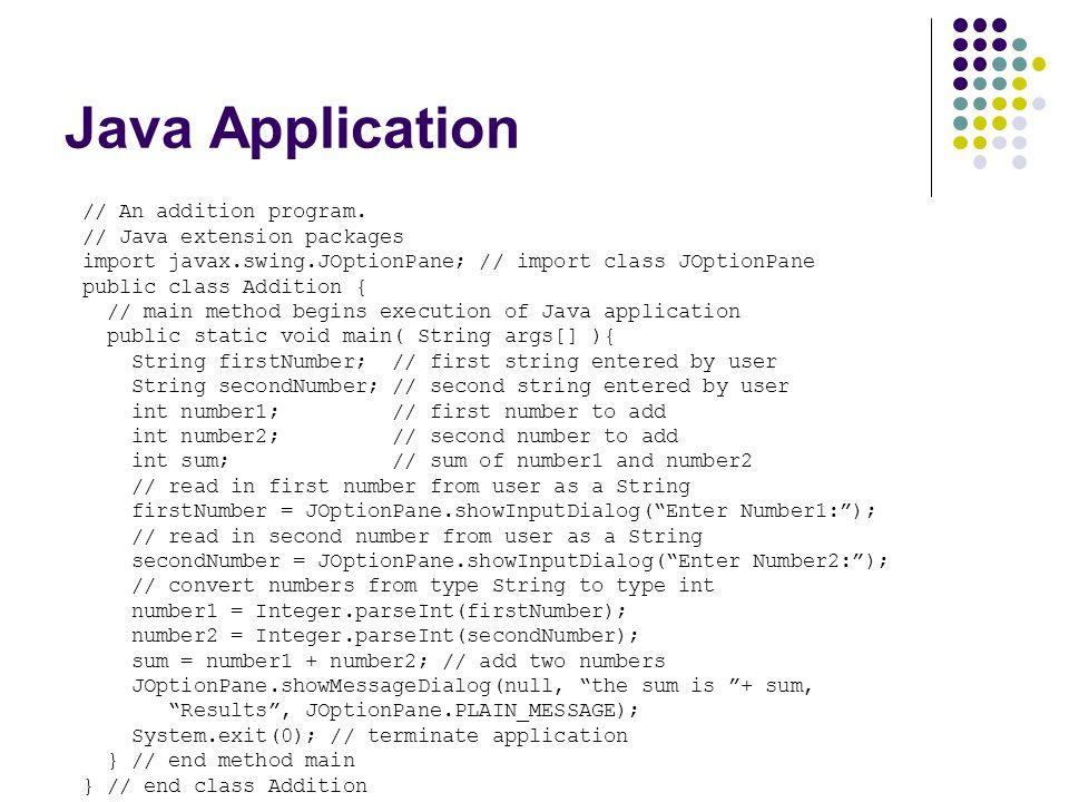 Java Application // An addition program. // Java extension packages import javax.swing.JOptionPane; // import class JOptionPane public class Addition