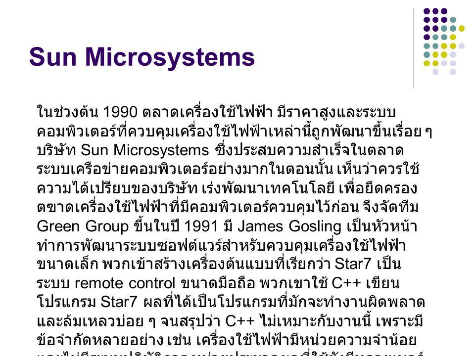 Sun Microsystems ในช่วงต้น 1990 ตลาดเครื่องใช้ไฟฟ้า มีราคาสูงและระบบ คอมพิวเตอร์ที่ควบคุมเครื่องใช้ไฟฟ้าเหล่านี้ถูกพัฒนาขึ้นเรื่อย ๆ บริษัท Sun Micros