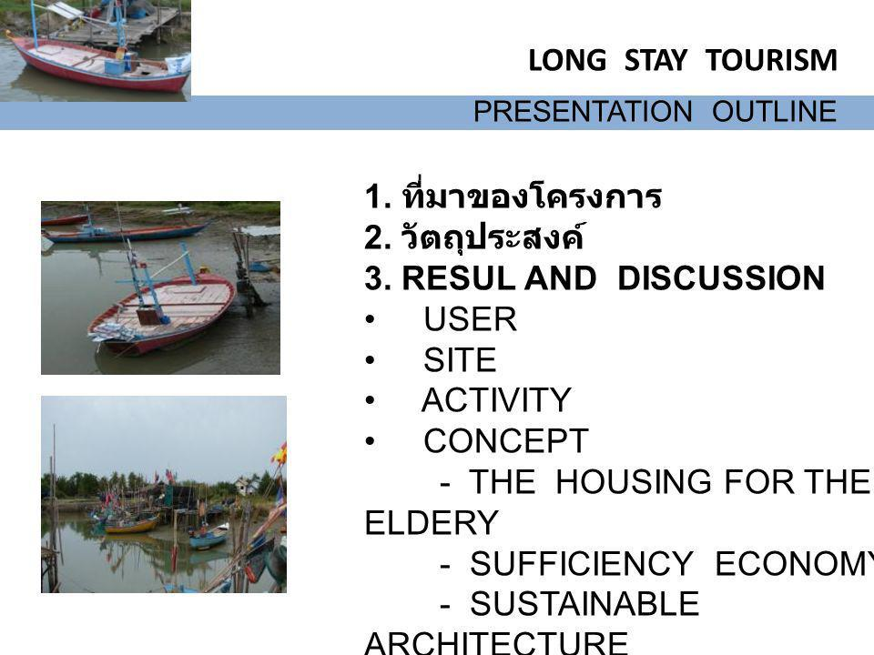 LONG STAY TOURISM 1. ที่มาของโครงการ 2. วัตถุประสงค์ 3. RESUL AND DISCUSSION USER SITE ACTIVITY CONCEPT - THE HOUSING FOR THE ELDERY - SUFFICIENCY ECO