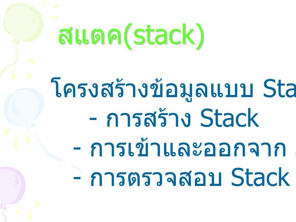 Stack Structure ประกอบด้วยสมาชิกที่เรียงต่อ กันเป็นแถว โดยการนำสมาชิก เข้าและออกจากสแตกจะกระทำที่ ด้านปลายหรือด้านบน Top of the stack