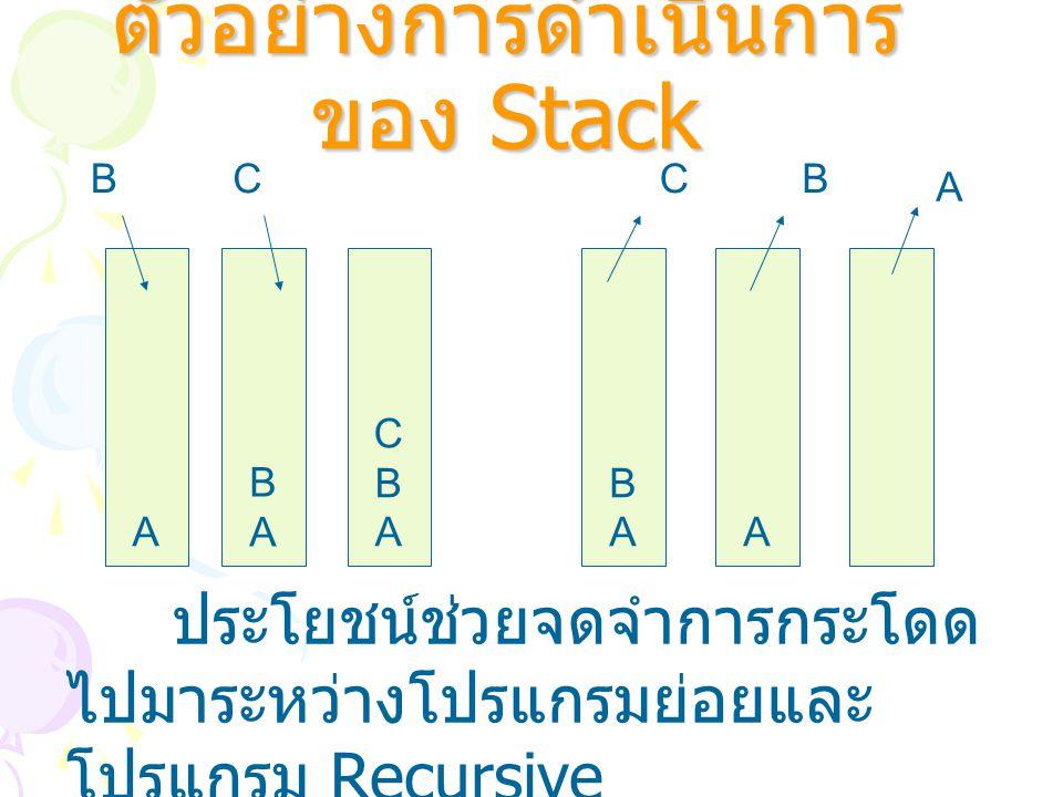 ตัวอย่างการดำเนินการ ของ Stack A BABA CBACBA BABAA BCCB A ประโยชน์ช่วยจดจำการกระโดด ไปมาระหว่างโปรแกรมย่อยและ โปรแกรม Recursive