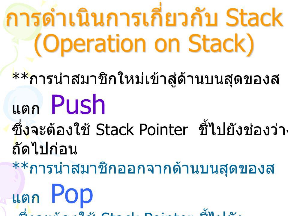 การดำเนินการเกี่ยวกับ Stack (Operation on Stack) ** การนำสมาชิกใหม่เข้าสู่ด้านบนสุดของส แตก Push ซึ่งจะต้องใช้ Stack Pointer ชี้ไปยังช่องว่าง ถัดไปก่อ