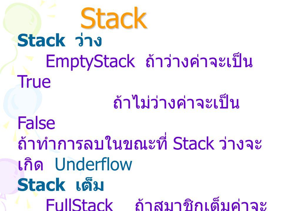 การตรวจสอบ Stack Stack ว่าง EmptyStack ถ้าว่างค่าจะเป็น True ถ้าไม่ว่างค่าจะเป็น False ถ้าทำการลบในขณะที่ Stack ว่างจะ เกิด Underflow Stack เต็ม FullS