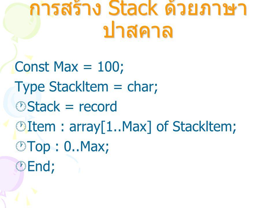 การสร้าง Stack ด้วยภาษา ปาสคาล Const Max = 100; Type Stackltem = char;  Stack = record  Item : array[1..Max] of Stackltem;  Top : 0..Max;  End;