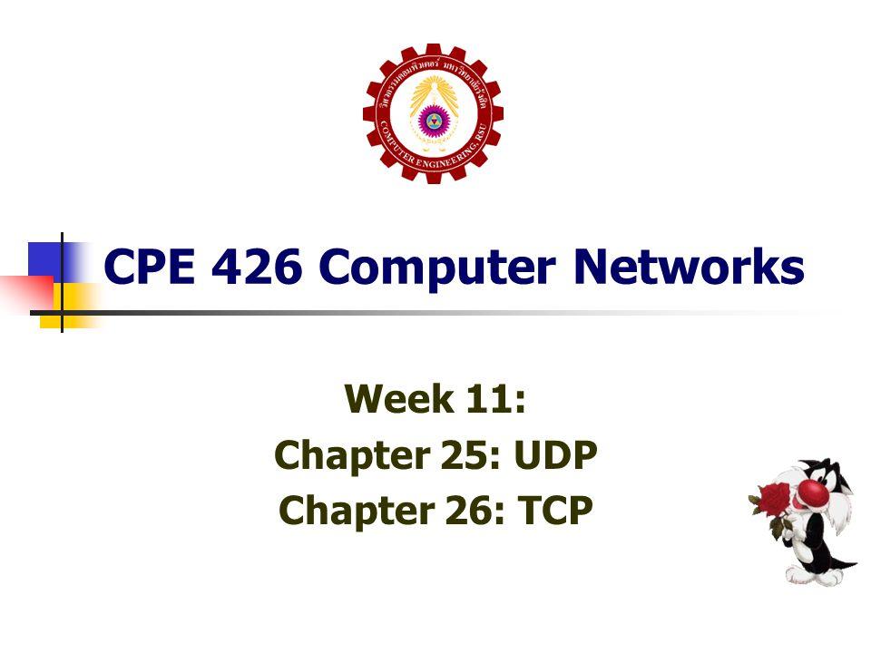 Chapter 26 TCP: 26.13 TCP Congestion Control TCP มี Congestion Control ที่ดูเหมือน ประหลาดกว่าทั่วไป เนื่องจาก Congestion ทำให้เกิด Delay ส่งผลให้เกิด Retransmission ส่งผลกลับมาให้ Congestion หนักขึ้น คือเกิด Congestion Collapse แม้ว่าการจัดการกับ Congestion ทั่วไปจะใช้วิธีลดอัตรา การส่ง แต่ TCP ไม่สามารถคำนวณอัตราการส่งได้ เพราะ วัดการส่งจาก Buffer ที่ได้รับจากอีกฝั่งหนึ่ง ดังนั้นการควบคุมอัตราการส่งใน TCP จะควบคุมจากการ เปลี่ยนแปลงขนาดของ Window แทน การลดขนาด Window ลงชั่วคราว จะเป็นการลดอัตราการส่ง ข้อมูลไปในตัว เมื่อมี Data Loss (คือ Congestion ในมุมมอง TCP) ขนาด Window จะถูกลดลง