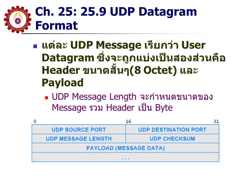 Ch. 25: 25.9 UDP Datagram Format แต่ละ UDP Message เรียกว่า User Datagram ซึ่งจะถูกแบ่งเป็นสองส่วนคือ Header ขนาดสั้นๆ(8 Octet) และ Payload UDP Messag