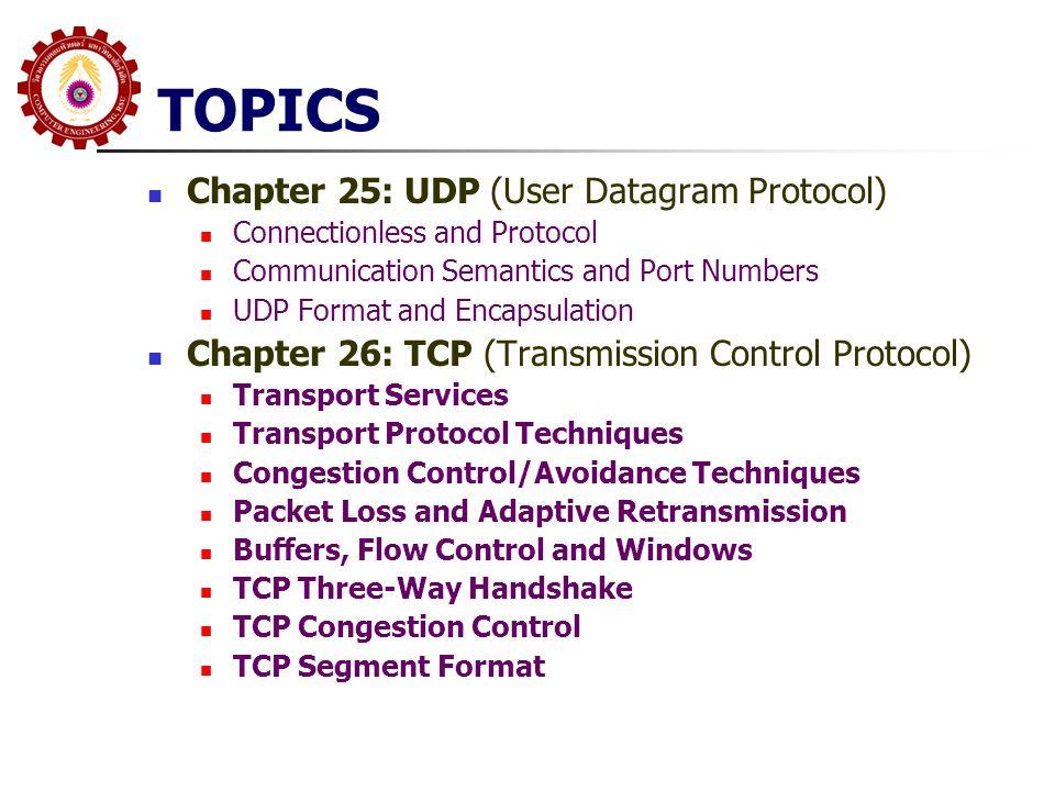 Chapter 25: UDP; Datagram Transport Service ในกรณีที่ Application ต้องการใช้ Service ของ Connectionless โดยที่ไม่ต้องการ Service ใดๆ เพิ่มเติม จะสามารถใช้ IP ได้โดยตรง แต่ยังมีปัญหา สองประการ Application เป็น Layer 5 แต่ IP เป็น Layer 3 นำมาวางโดยตรง ไม่ได้ แต่ละ Host อาจจะมีหลาย Application ที่ต้องการ Service จาก IP เราต้องมีการกำหนดหมายเลข Application กล่าวคือ เราต้องการ Layer 4 Protocol บางๆ ไม่ทำ หน้าที่อะไรมาก แค่เป็นการเชื่อมต่อระหว่าง Application Layer กับ IP Layer และมีการกำหนด หมายเลข Application หมายเลขที่กำหนด เราเรียก Port Number Protocol นี้คือ User Datagram Protocol (UDP)