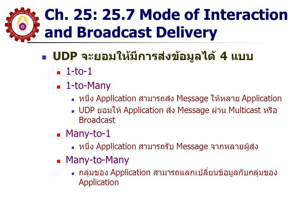 Ch. 25: 25.7 Mode of Interaction and Broadcast Delivery UDP จะยอมให้มีการส่งข้อมูลได้ 4 แบบ 1-to-1 1-to-Many หนึ่ง Application สามารถส่ง Message ให้หล