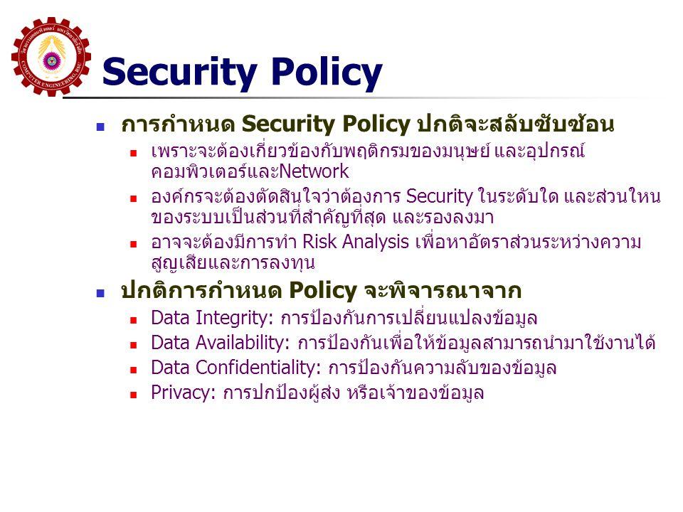 Security Policy การกำหนด Security Policy ปกติจะสลับซับซ้อน เพราะจะต้องเกี่ยวข้องกับพฤติกรมของมนุษย์ และอุปกรณ์ คอมพิวเตอร์และNetwork องค์กรจะต้องตัดสิ
