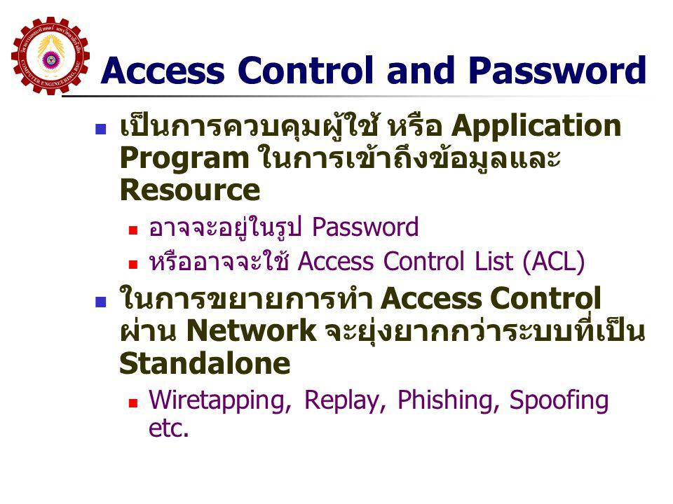 Access Control and Password เป็นการควบคุมผู้ใช้ หรือ Application Program ในการเข้าถึงข้อมูลและ Resource อาจจะอยู่ในรูป Password หรืออาจจะใช้ Access Co