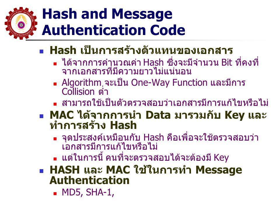 Hash and Message Authentication Code Hash เป็นการสร้างตัวแทนของเอกสาร ได้จากการคำนวณค่า Hash ซึ่งจะมีจำนวน Bit ที่คงที่ จากเอกสารที่มีความยาวไม่แน่นอน