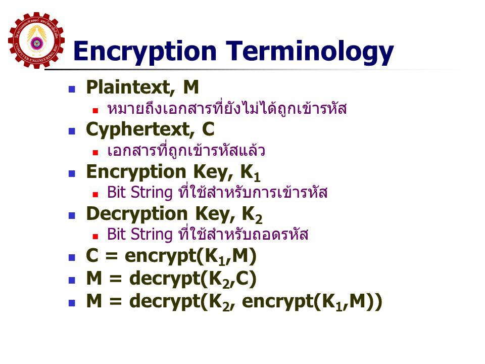 Encryption Terminology Plaintext, M หมายถึงเอกสารที่ยังไม่ได้ถูกเข้ารหัส Cyphertext, C เอกสารที่ถูกเข้ารหัสแล้ว Encryption Key, K 1 Bit String ที่ใช้ส