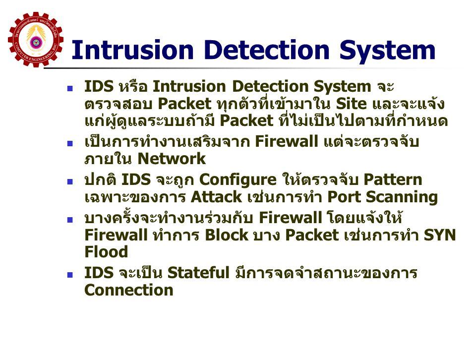 Intrusion Detection System IDS หรือ Intrusion Detection System จะ ตรวจสอบ Packet ทุกตัวที่เข้ามาใน Site และจะแจ้ง แก่ผู้ดูแลระบบถ้ามี Packet ที่ไม่เป็