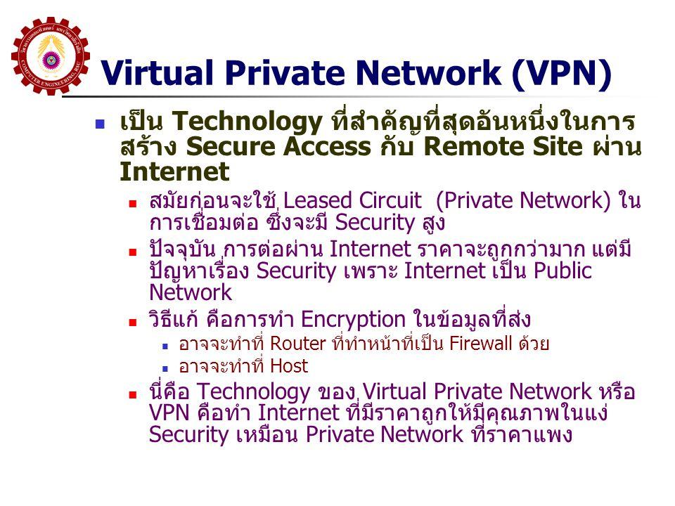 Virtual Private Network (VPN) เป็น Technology ที่สำคัญที่สุดอันหนึ่งในการ สร้าง Secure Access กับ Remote Site ผ่าน Internet สมัยก่อนจะใช้ Leased Circu