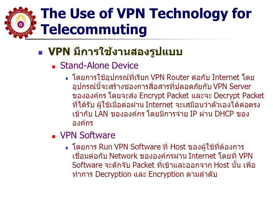 The Use of VPN Technology for Telecommuting VPN มีการใช้งานสองรูปแบบ Stand-Alone Device โดยการใช้อุปกรณ์ที่เรียก VPN Router ต่อกับ Internet โดย อุปกรณ