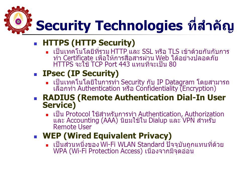Security Technologies ที่สำคัญ HTTPS (HTTP Security) เป็นเทคโนโลยีที่รวม HTTP และ SSL หรือ TLS เข้าด้วยกันกับการ ทำ Certificate เพื่อให้การสื่อสารผ่าน