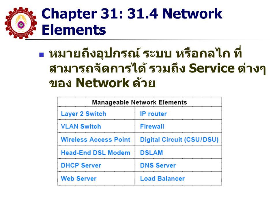 Chapter 31: 31.4 Network Elements หมายถึงอุปกรณ์ ระบบ หรือกลไก ที่ สามารถจัดการได้ รวมถึง Service ต่างๆ ของ Network ด้วย