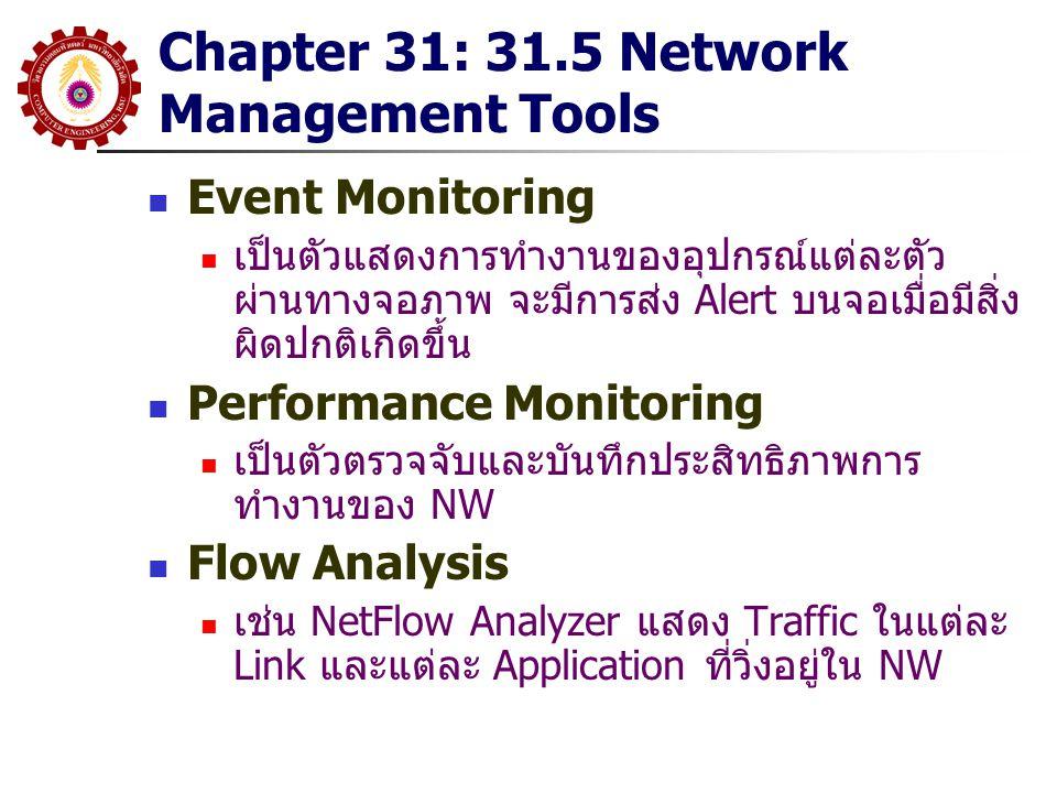 Chapter 31: 31.5 Network Management Tools Event Monitoring เป็นตัวแสดงการทำงานของอุปกรณ์แต่ละตัว ผ่านทางจอภาพ จะมีการส่ง Alert บนจอเมื่อมีสิ่ง ผิดปกติ