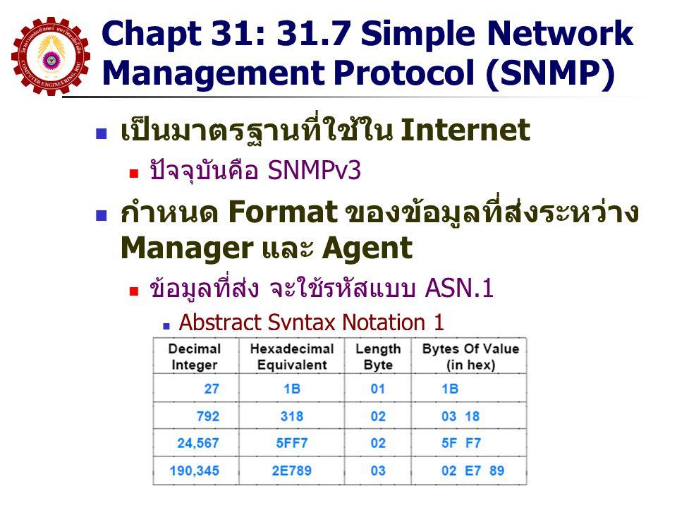 Chapt 31: 31.7 Simple Network Management Protocol (SNMP) เป็นมาตรฐานที่ใช้ใน Internet ปัจจุบันคือ SNMPv3 กำหนด Format ของข้อมูลที่ส่งระหว่าง Manager แ