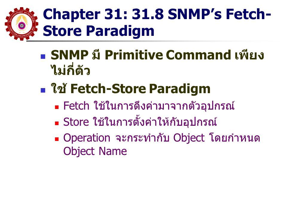 Chapter 31: 31.8 SNMP's Fetch- Store Paradigm SNMP มี Primitive Command เพียง ไม่กี่ตัว ใช้ Fetch-Store Paradigm Fetch ใช้ในการดึงค่ามาจากตัวอุปกรณ์ S