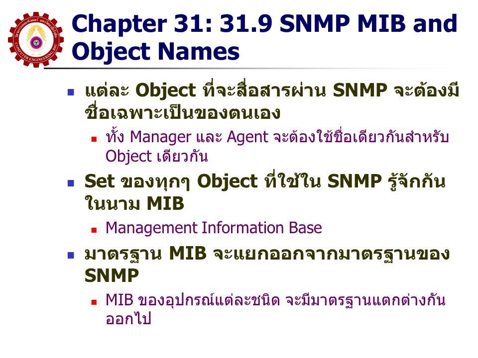 Chapter 31: 31.9 SNMP MIB and Object Names แต่ละ Object ที่จะสื่อสารผ่าน SNMP จะต้องมี ชื่อเฉพาะเป็นของตนเอง ทั้ง Manager และ Agent จะต้องใช้ชื่อเดียว