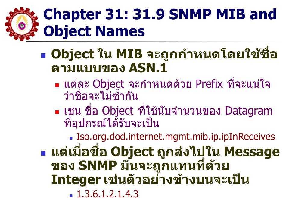 Chapter 31: 31.9 SNMP MIB and Object Names Object ใน MIB จะถูกกำหนดโดยใช้ชื่อ ตามแบบของ ASN.1 แต่ละ Object จะกำหนดด้วย Prefix ที่จะแน่ใจ ว่าชื่อจะไม่ซ
