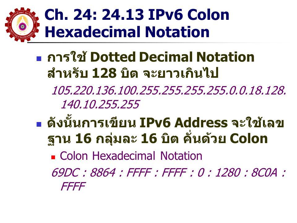 Ch. 24: 24.13 IPv6 Colon Hexadecimal Notation การใช้ Dotted Decimal Notation สำหรับ 128 บิต จะยาวเกินไป 105.220.136.100.255.255.255.255.0.0.18.128. 14