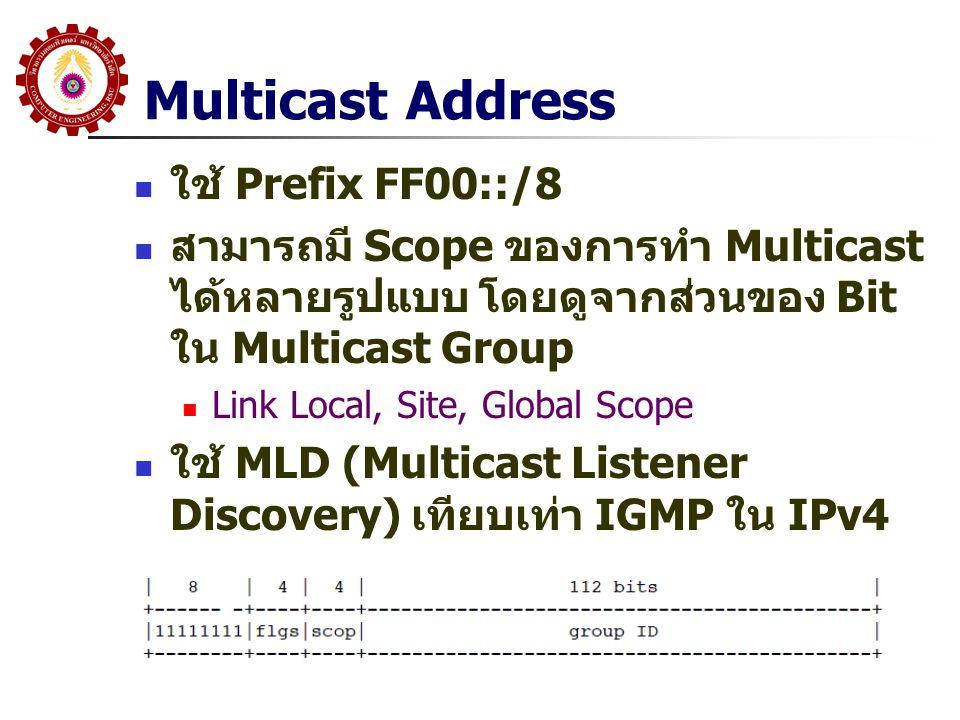 Multicast Address ใช้ Prefix FF00::/8 สามารถมี Scope ของการทำ Multicast ได้หลายรูปแบบ โดยดูจากส่วนของ Bit ใน Multicast Group Link Local, Site, Global