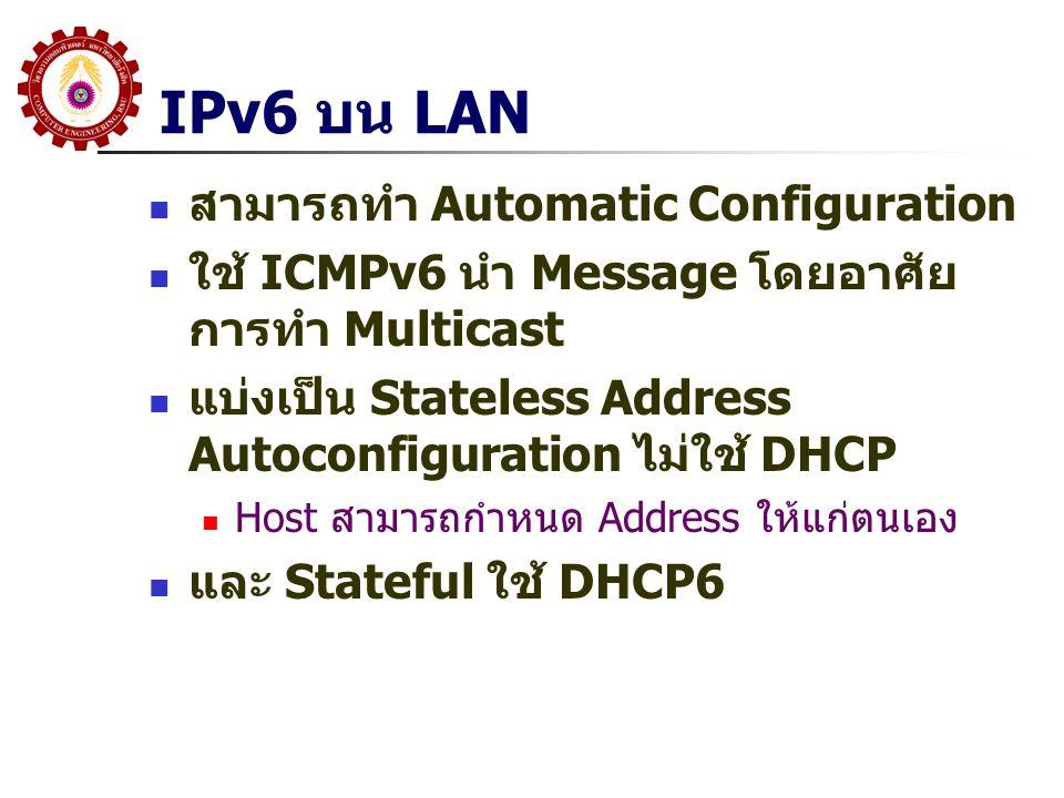 IPv6 บน LAN สามารถทำ Automatic Configuration ใช้ ICMPv6 นำ Message โดยอาศัย การทำ Multicast แบ่งเป็น Stateless Address Autoconfiguration ไม่ใช้ DHCP H