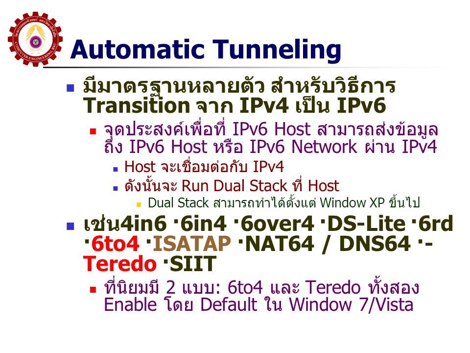 Automatic Tunneling มีมาตรฐานหลายตัว สำหรับวิธีการ Transition จาก IPv4 เป็น IPv6 จุดประสงค์เพื่อที่ IPv6 Host สามารถส่งข้อมูล ถึง IPv6 Host หรือ IPv6